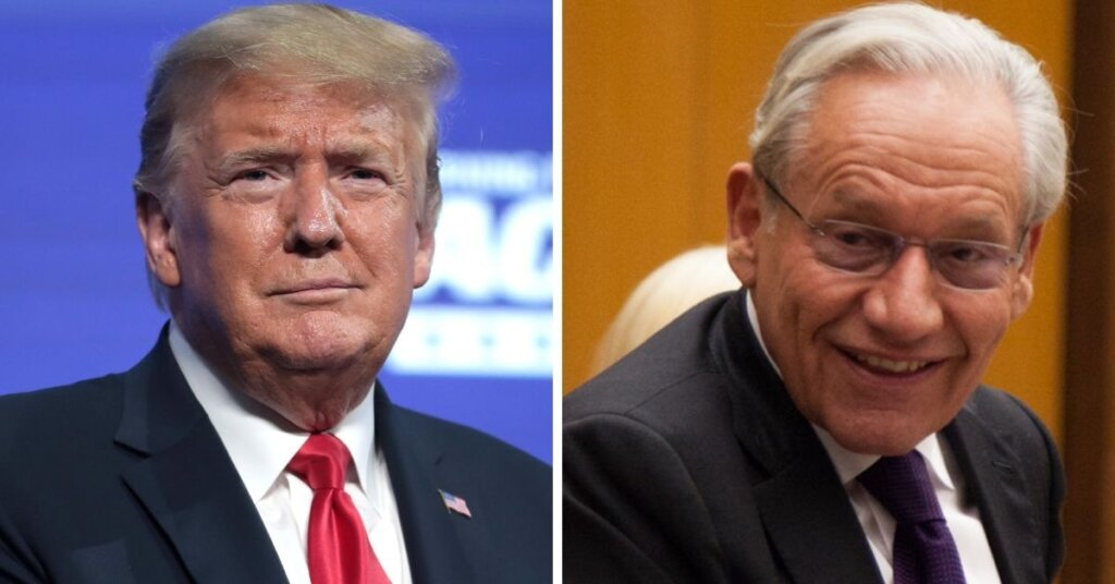 Side by side photos of Trump and Bob Woodward