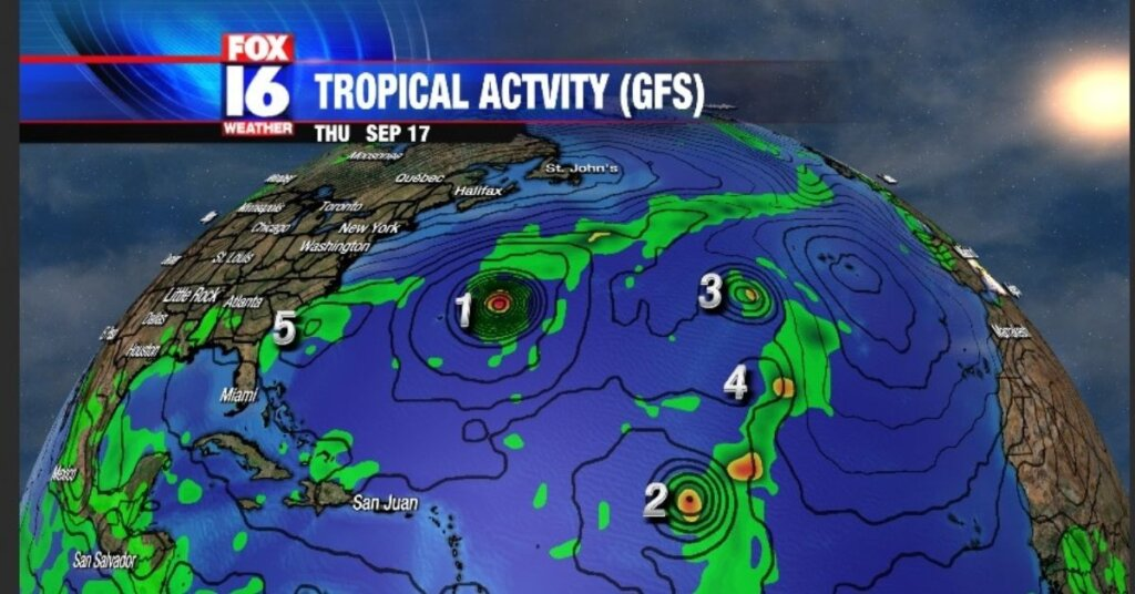 5 tropical storms in the Atlantic