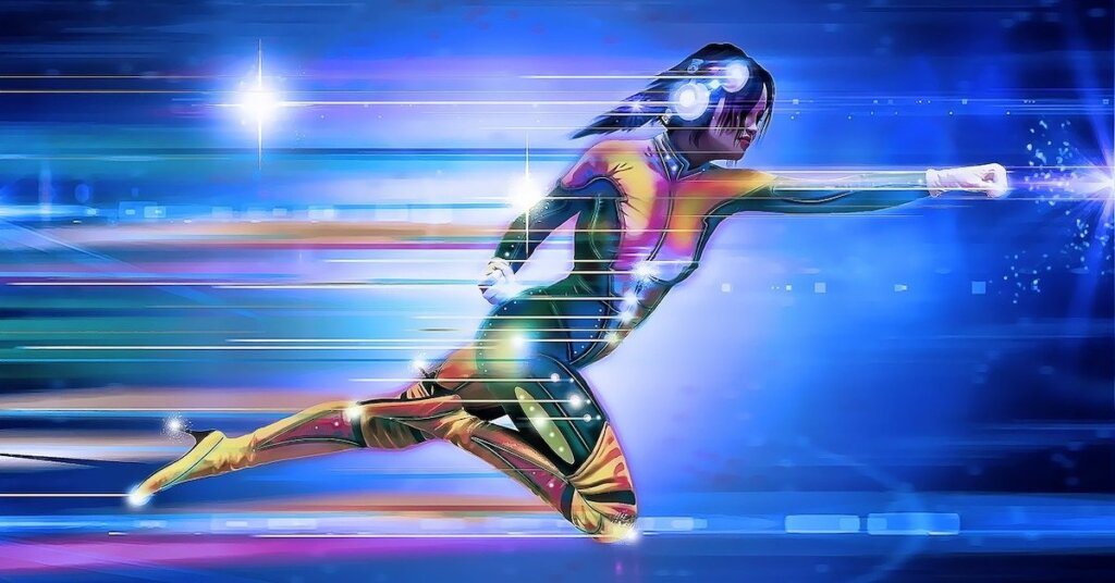 Stylized image of a female superhero speeding along.