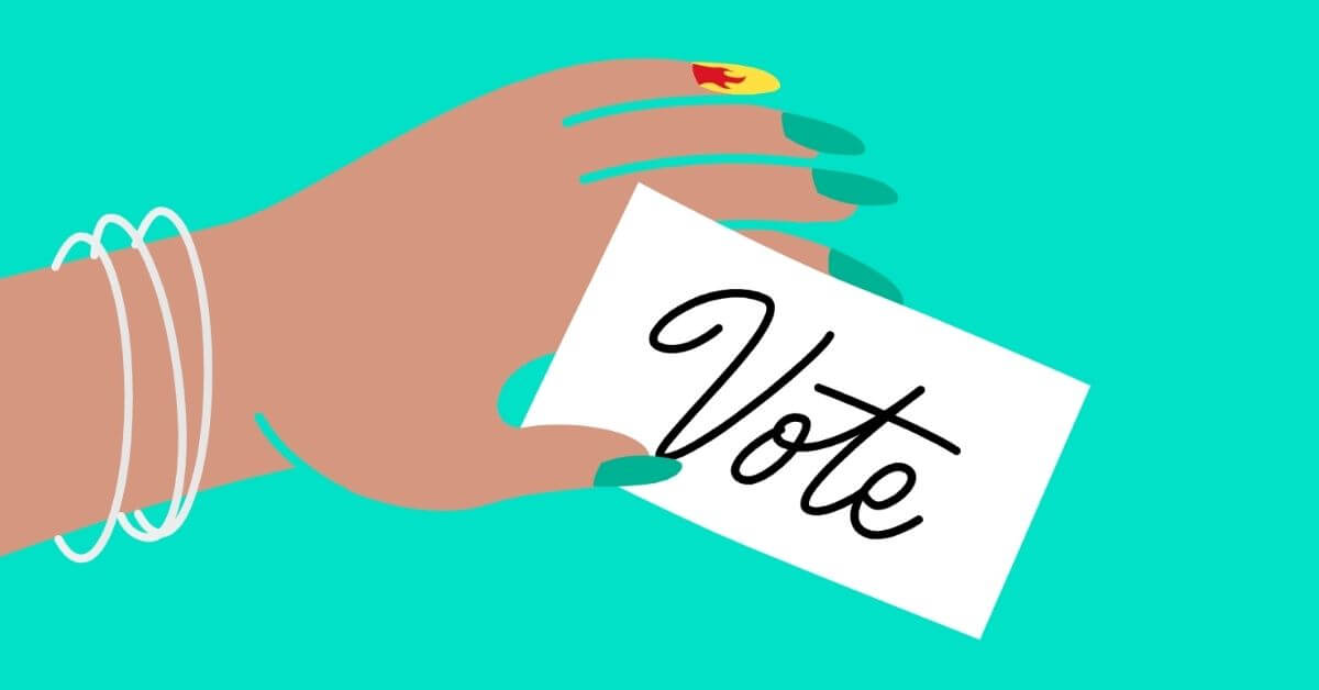 cartoon depiction of a hand holding a card that says vote
