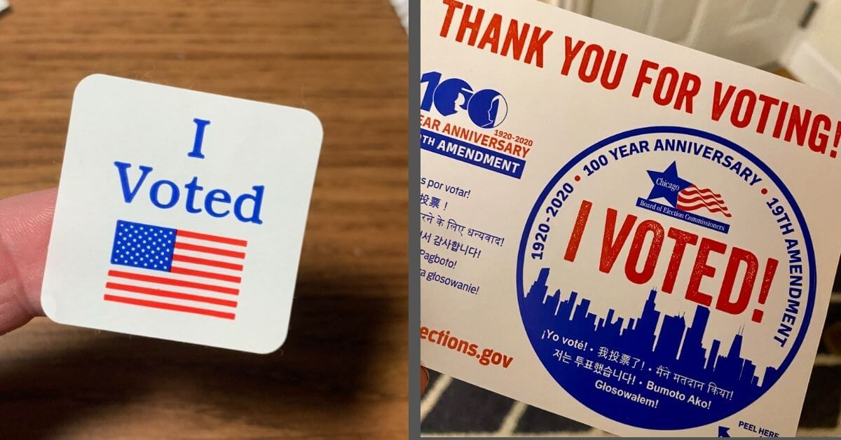 Side by side photos of voting stickers