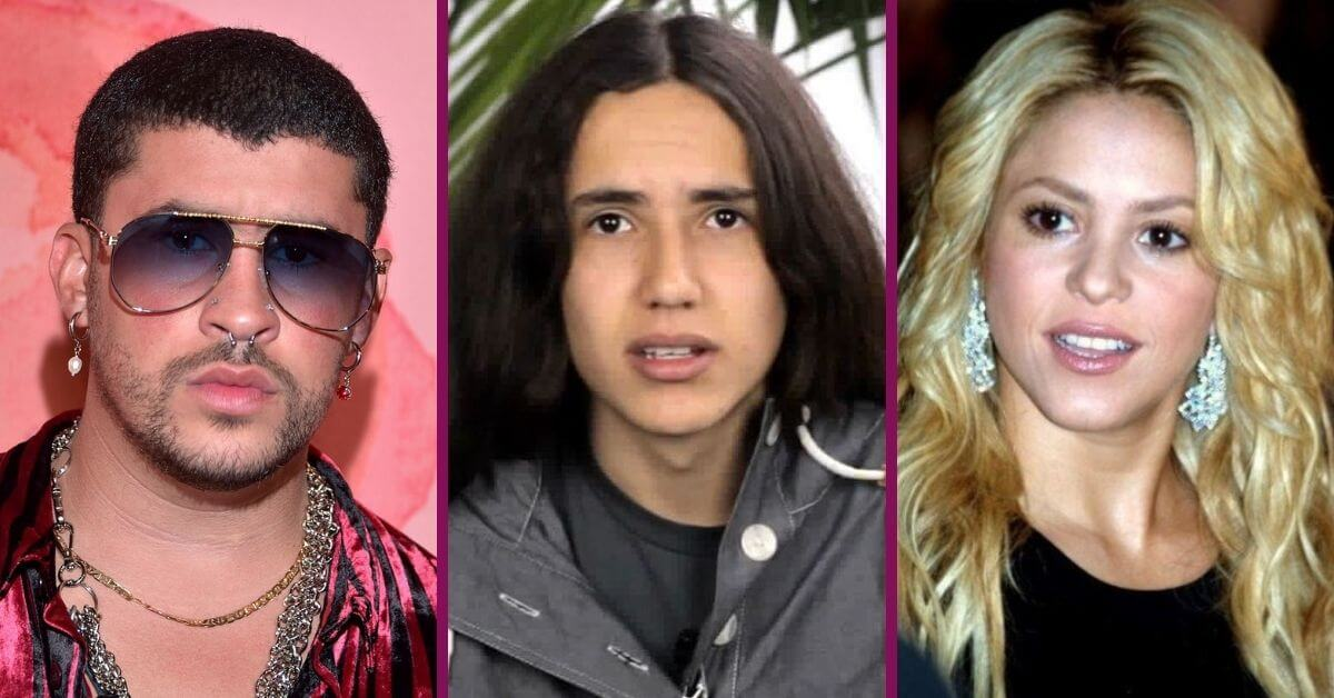 Side by side photos of Bad Bunny, Xiuhtezcatl Martinez, and Shakira
