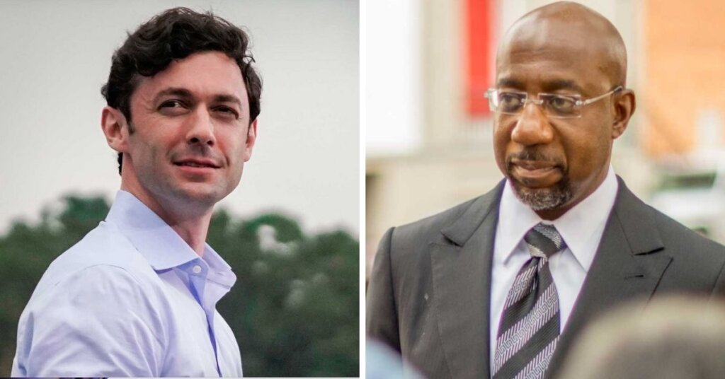 Side by side photos of Ossoff and Warnock