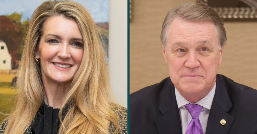 Side by side photos of Kelly Loeffler and David Perdue