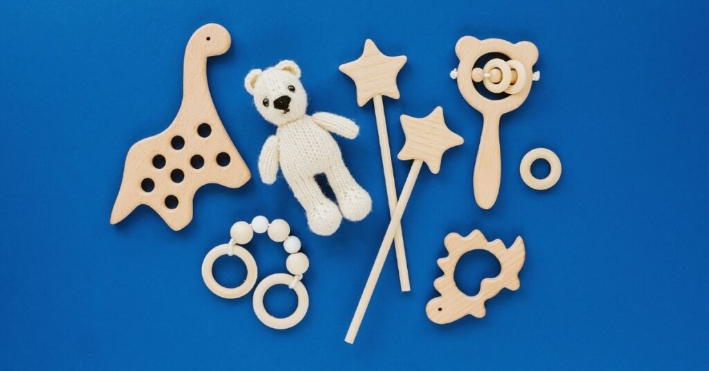 Wooden toys on a blue background