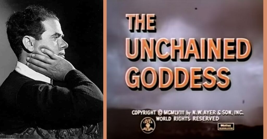 "Side by side photo of Capra and the title screen of ""the Unchained Goddess"""