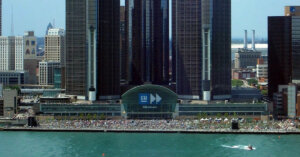 General Motors headquarters, where plans for all electric car and truck models by 2035 were announced.
