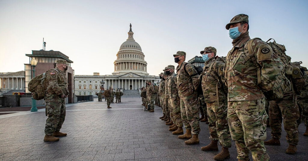 National Guard Soldiers and Airmen from several states setting up security positions in Washington, D.C. on Jan. 12.