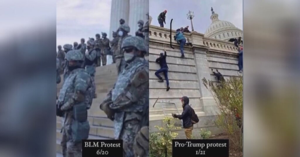 Side by side photos of BLM protests/MAGA insurrection