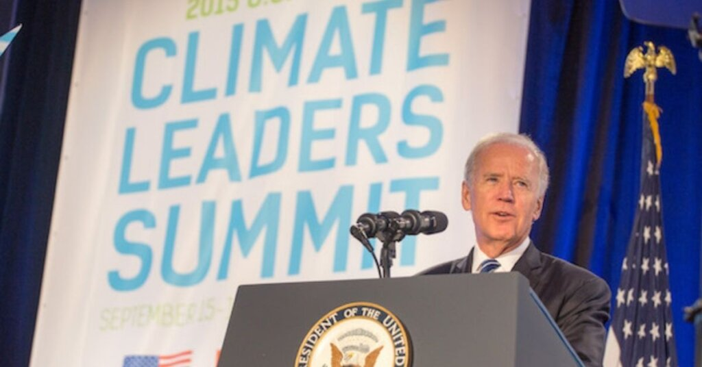 Biden speaking at the Climate Leaders Summit
