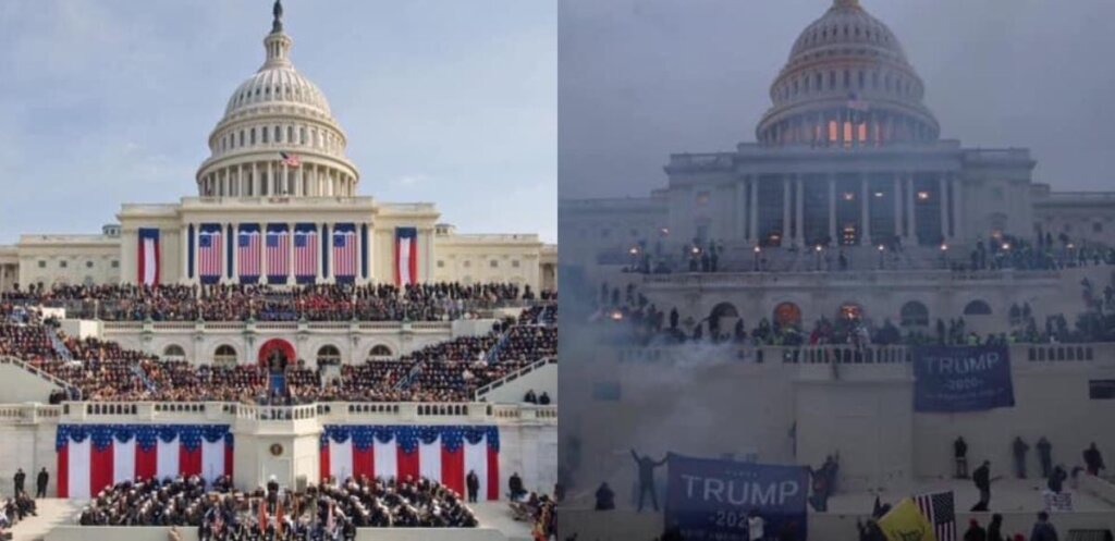 side by side images of the Trump inauguration and the Capitol riot