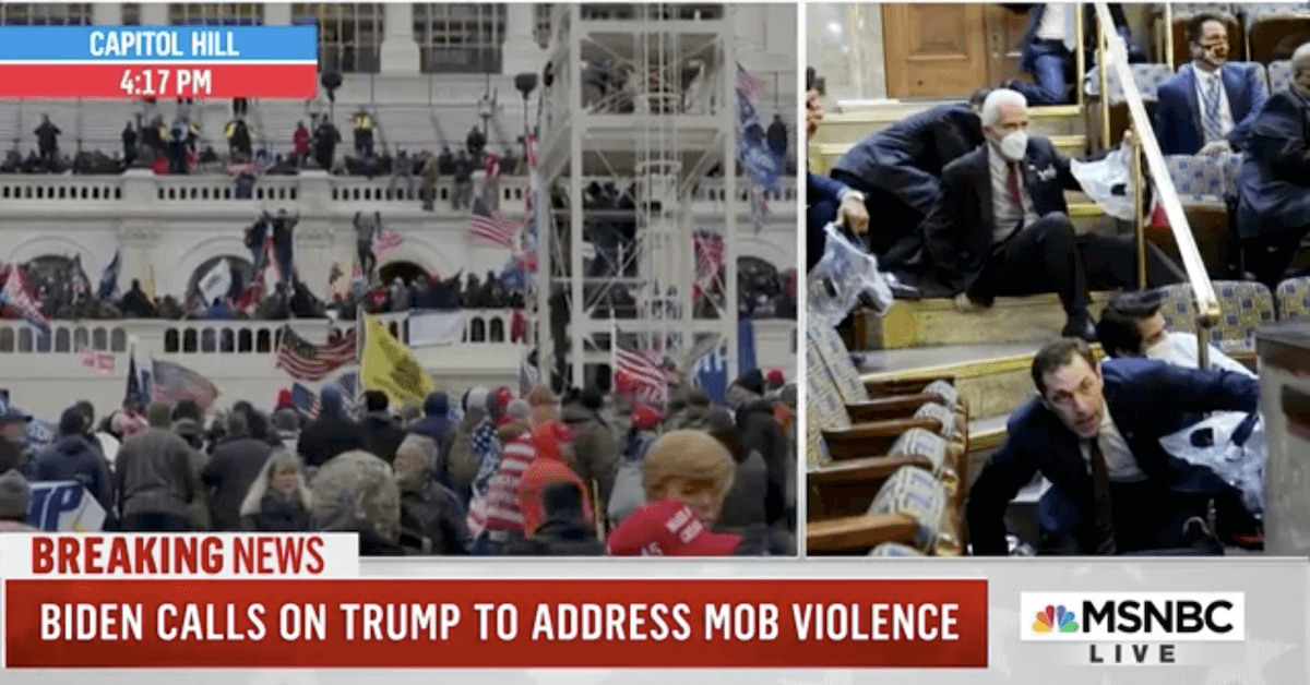 A split screen as Trump insurrectionists mob Capitol as US Representatives and staff shelter on the floor of the chamber.