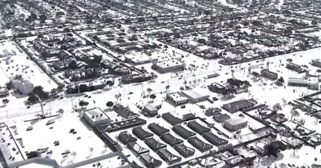 Aerial view of Texas covered in snow