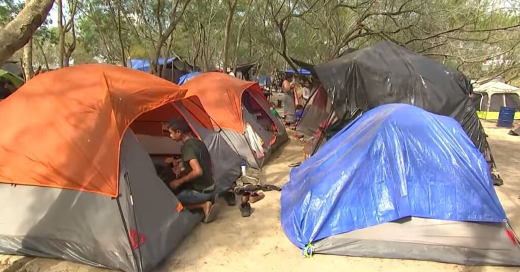 Tent at the border camp in Mexico