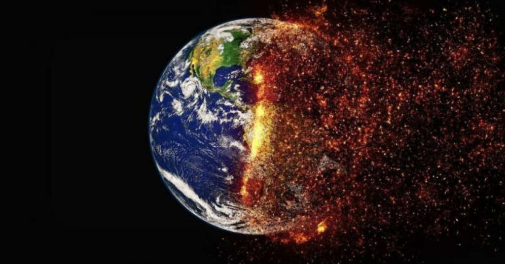 Stylized photo of the planet bursting into flames