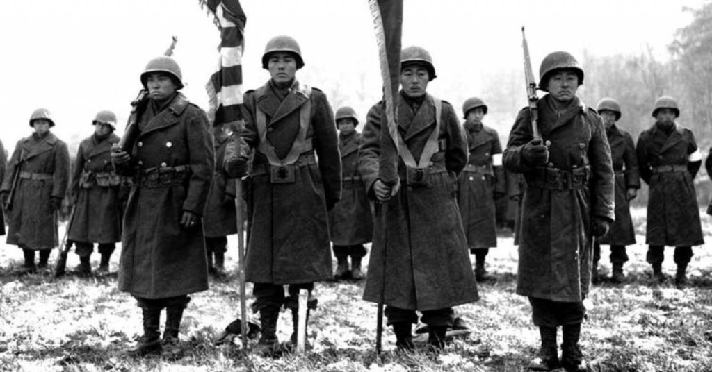 Soldiers of the Japanese American 442nd Regimental Combat Team in Bruyères, France.