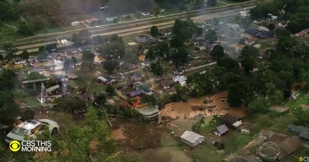 Aerial view of flooding in Tennessee